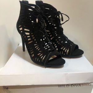 Black Suede Lace Up Stiletto Heels